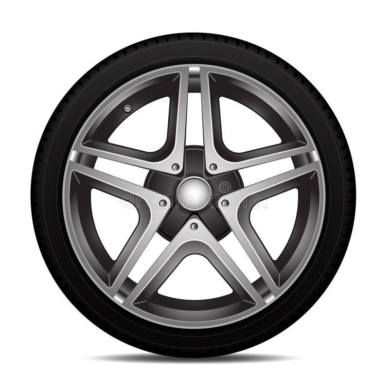 Alliage réaliste de roue de voiture avec la conception de sport de pneu sur le vecteur blanc de fond illustration de vecteur