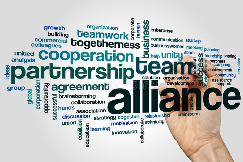 Alliance formułuje obłocznego pojęcie na popielatym tle fotografia royalty free