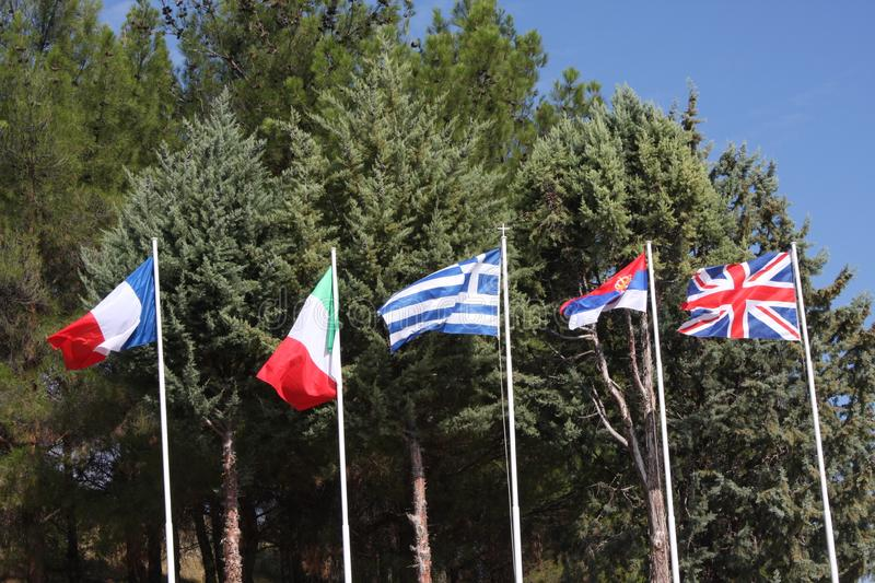 Allied flags in Polykastro WWI military cemetery, Macedonia, Greece. stock image