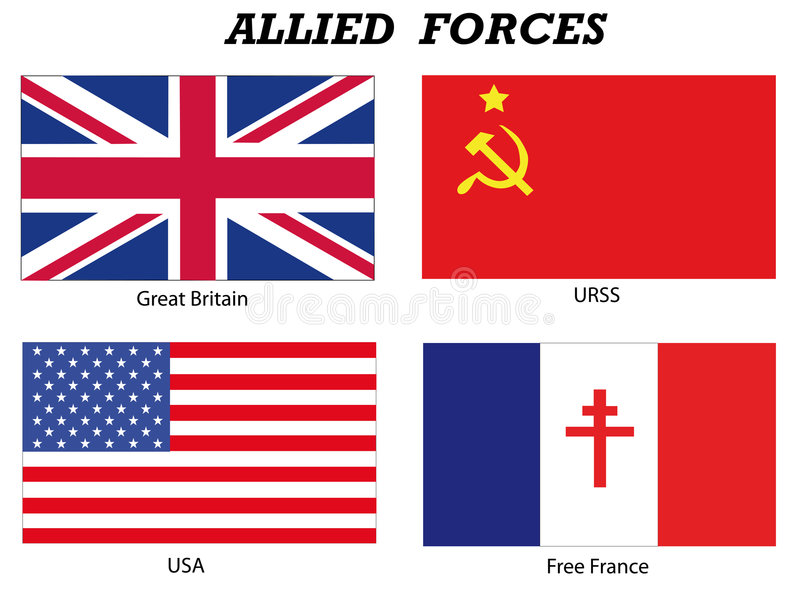 Allied Forces in World War 2. Illustration of the flags of the most important Allied Forces in World War 2 stock illustration