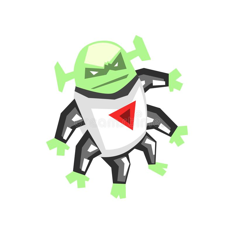 Allien, angry monster with six legs character cartoon vector Illustration on a white background royalty free illustration