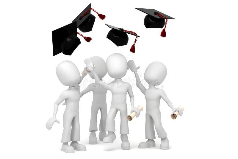 allievi 3d che saltano per la graduazione finale del colege illustrazione vettoriale