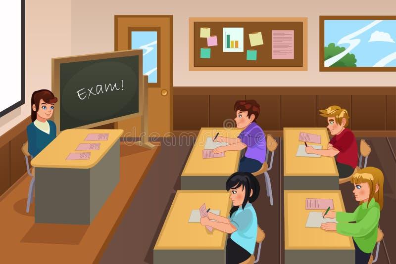 Allievi che catturano un esame illustrazione di stock