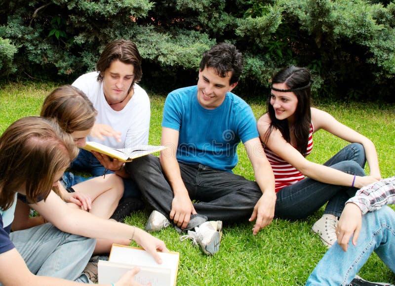 Allievi che si siedono nella sosta su un'erba fotografia stock libera da diritti