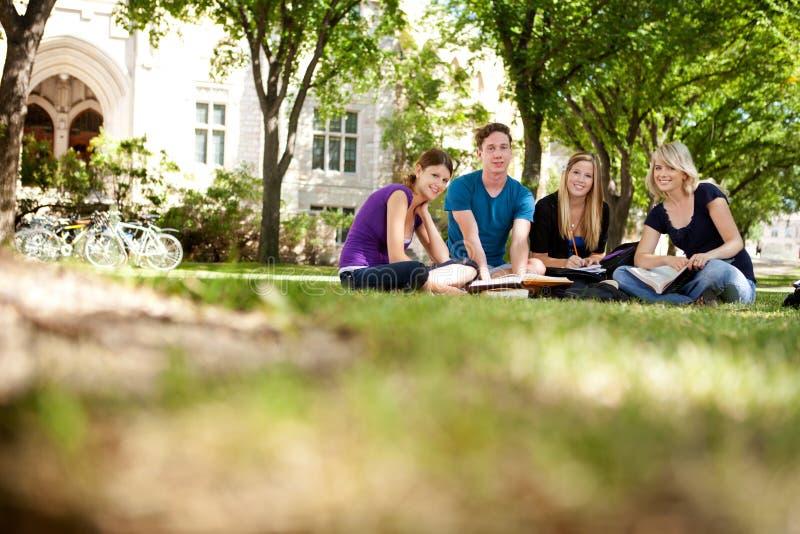Allievi felici sulla città universitaria fotografie stock