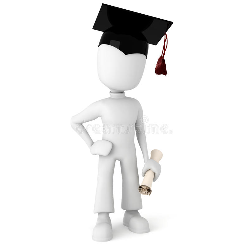 allievo dell'uomo 3d felice per la graduazione illustrazione di stock