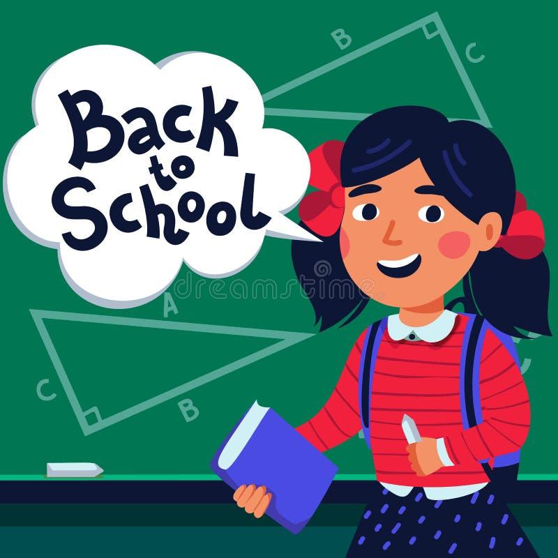 Allievo della ragazza davanti alla lavagna Libro e fumetto felici della tenuta del bambino con di nuovo al testo di scuola Stile  royalty illustrazione gratis