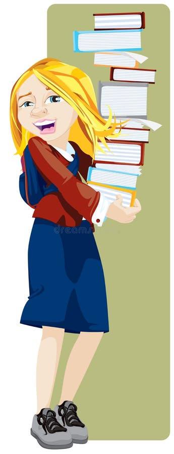 Allievo felice che tiene una torretta dei libri illustrazione vettoriale