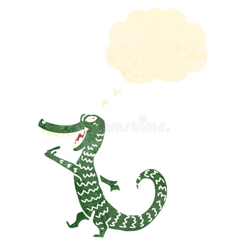 alligator affamé de rétro bande dessinée illustration libre de droits