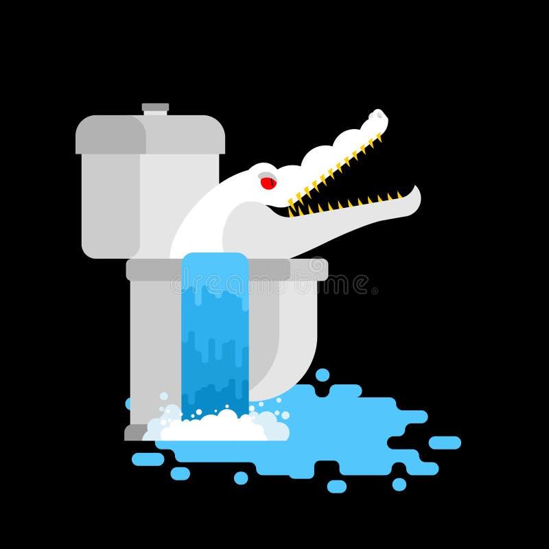 Alligator albinos dans la toilette Monstre blanc de crocodile dans l'égout RP illustration de vecteur