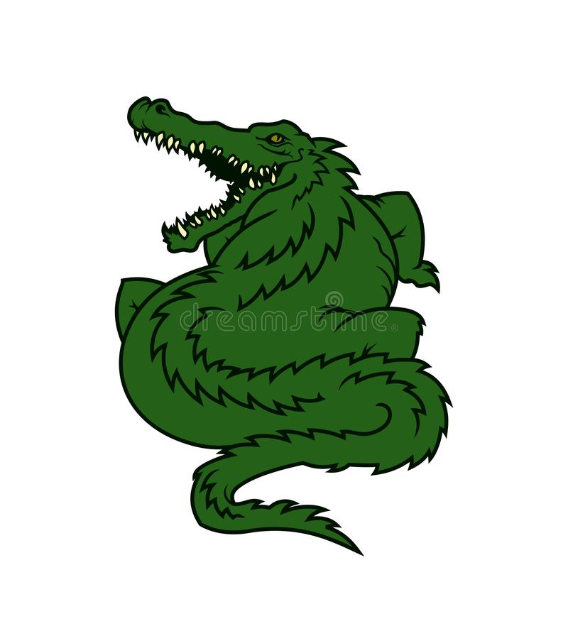 Alligator cartoon mascot character. Fat gator icon stock illustration