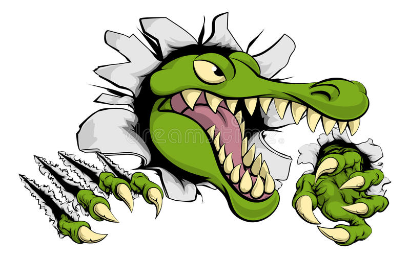 Alligator or crocodile smashing through wall. Illustration of a cartoon alligator or crocodile smashing through a wall with claws and head royalty free illustration