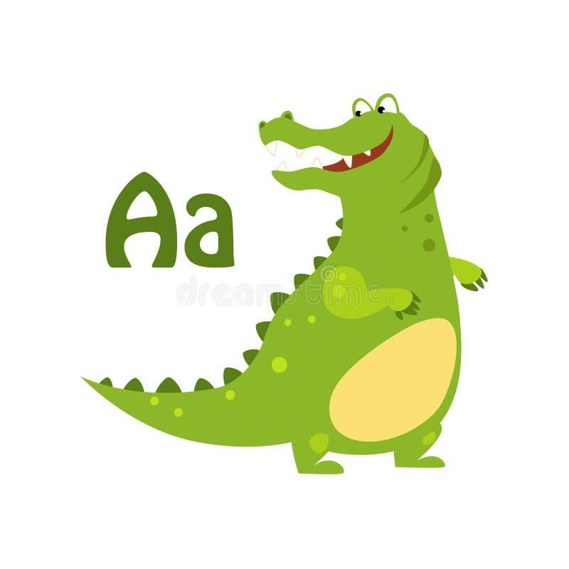 Alligator. Funny Alphabet, Animal Vector Illustration. Alligator. Funny Alphabet, Colourful Animal Vector Illustration royalty free illustration