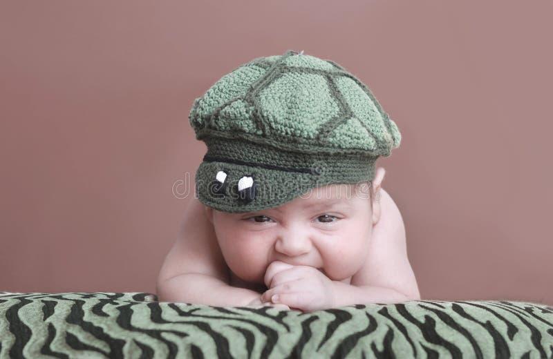 Alligator hat. A 4 weeks old baby boy in alligator hat stock image
