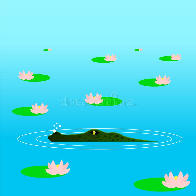 Crocodile Hiding in the Ambush in the Water Among Lilies royalty free illustration