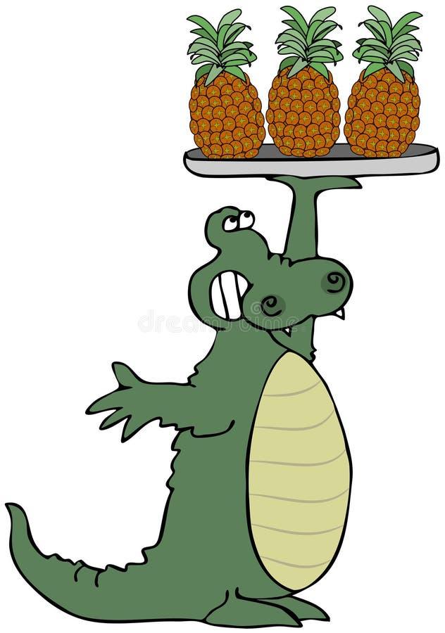 Download Alligator Holding Pineapples Stock Illustration - Image: 24807136