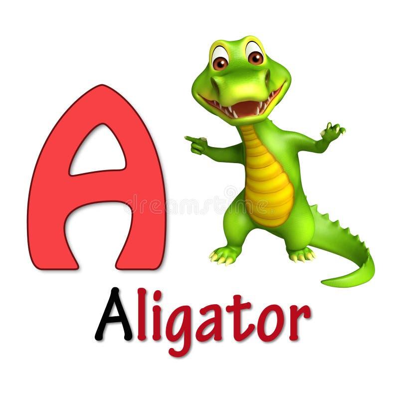 Alligator med alphabate stock illustrationer