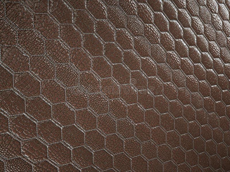 Alligator of slang bruine Leer hexagon gestikte textuur stock fotografie