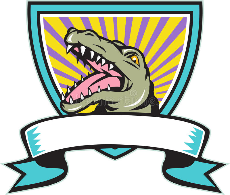 Alligator Snapping Crest Retro. Illustration of an angry gator alligator crocodile head snout snapping set inside crest shield with ribbon scroll in front done vector illustration