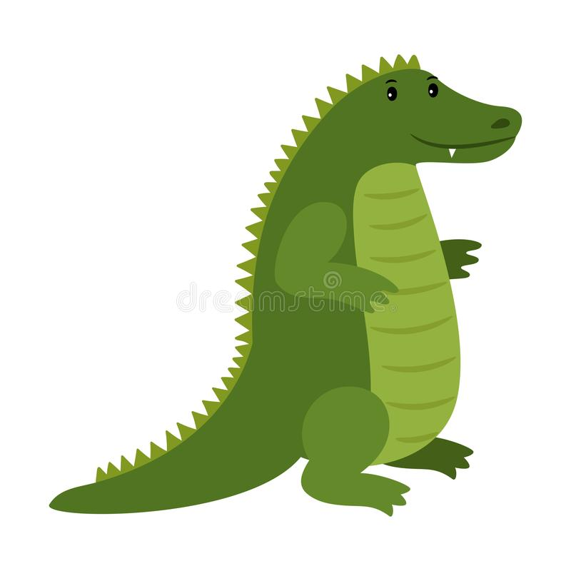 Alligator. Vector happy cartoon crocodile mascot. Isolated on white background royalty free illustration