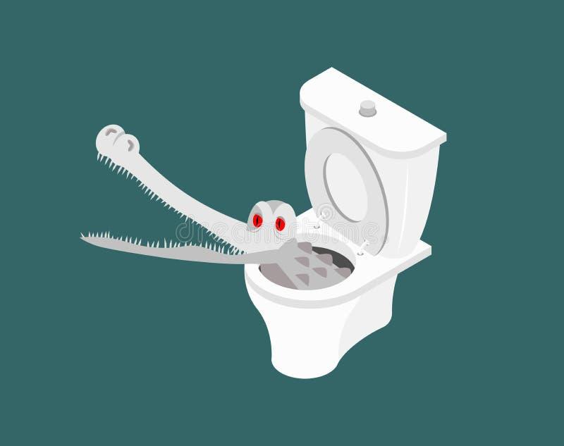 Alligatore dell'albino nella toilette Coccodrillo bianco in fogna Wi del mostro royalty illustrazione gratis