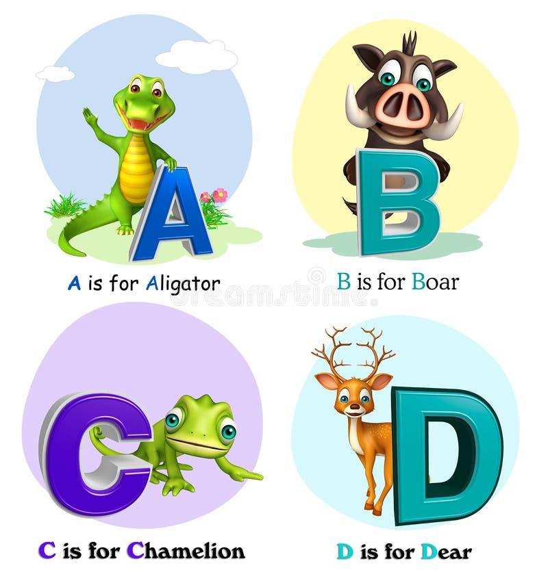 Alligatore, verro, Chamelion e caro con Alphabate royalty illustrazione gratis