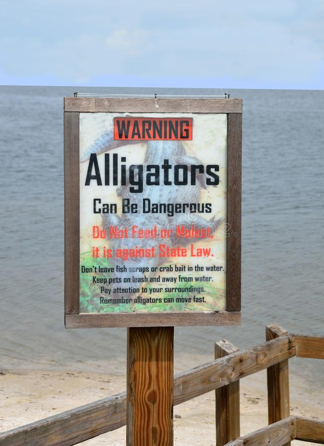 Alligators Warning Sign. Warning - Alligators can be dangerous, do not feed or molest royalty free stock photography