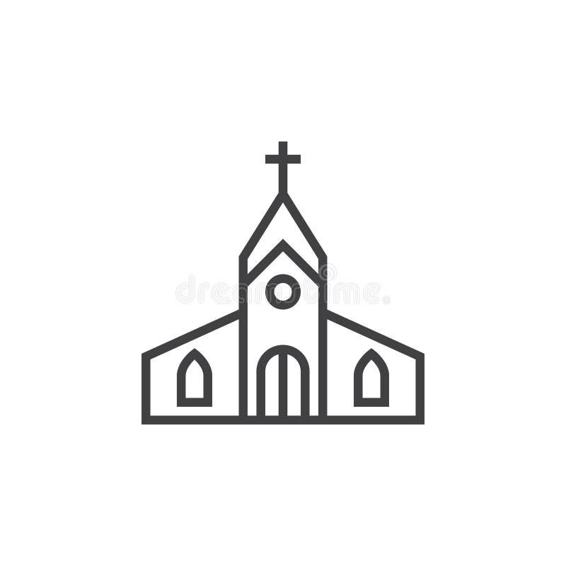Allineamento dei fabbricati della chiesa icona, segno di vettore del profilo, pittogramma lineare illustrazione vettoriale