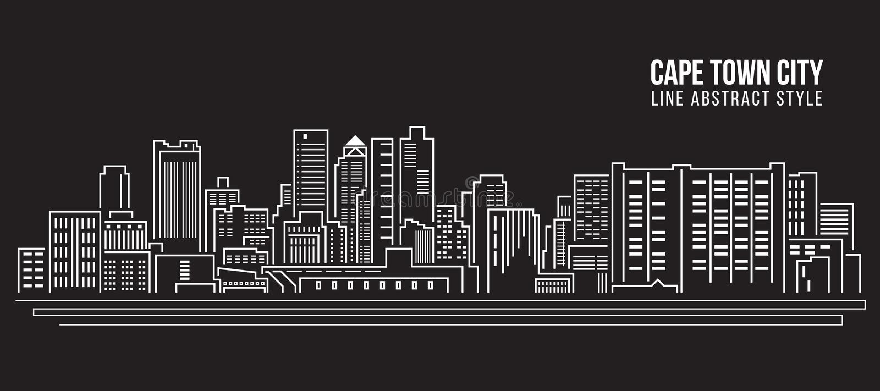 Allineamento dei fabbricati di paesaggio urbano progettazione dell'illustrazione di vettore di arte - città di Città del Capo royalty illustrazione gratis