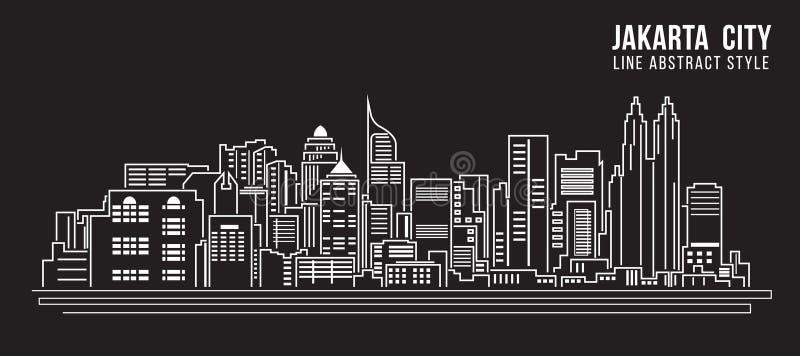 Allineamento dei fabbricati di paesaggio urbano progettazione dell'illustrazione di vettore di arte - città di Jakarta illustrazione vettoriale