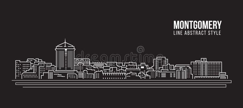 Allineamento dei fabbricati di paesaggio urbano progettazione dell'illustrazione di vettore di arte - città di Montgomery illustrazione di stock