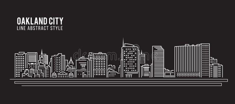 Allineamento dei fabbricati di paesaggio urbano progettazione dell'illustrazione di vettore di arte - città di Oakland, Californi illustrazione vettoriale