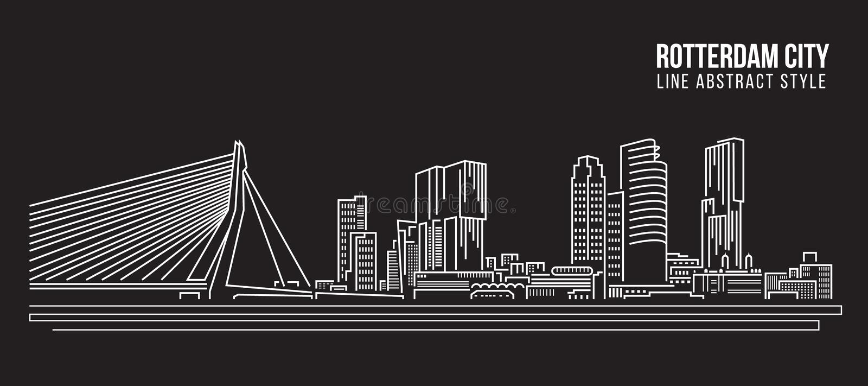 Allineamento dei fabbricati di paesaggio urbano progettazione dell'illustrazione di vettore di arte - città di Rotterdam illustrazione di stock