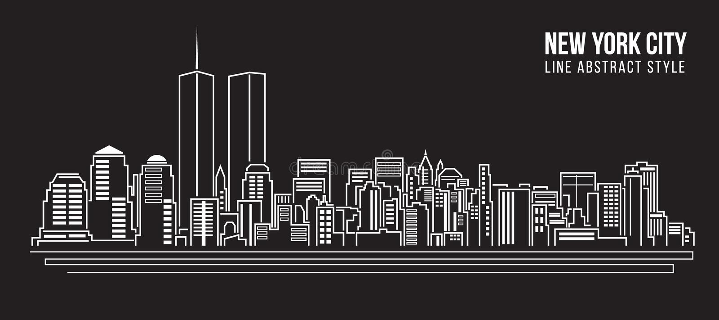 Allineamento dei fabbricati di paesaggio urbano progettazione dell'illustrazione di vettore di arte - New York City royalty illustrazione gratis