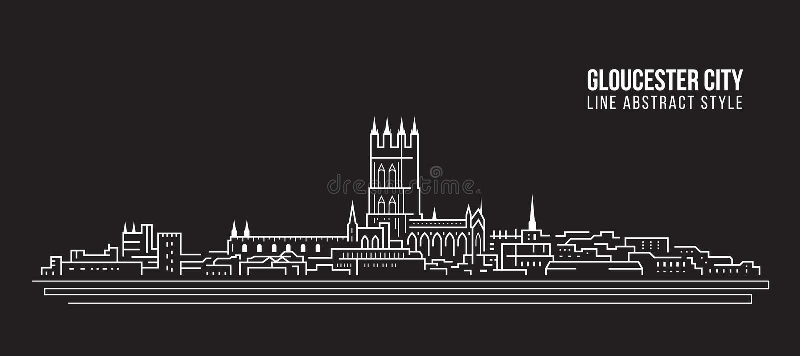 Allineamento dei fabbricati di paesaggio urbano progettazione dell'illustrazione di vettore di arte - città di Gloucester, Regno  illustrazione di stock