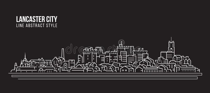 Allineamento dei fabbricati di paesaggio urbano progettazione dell'illustrazione di vettore di arte - città di Lancaster royalty illustrazione gratis