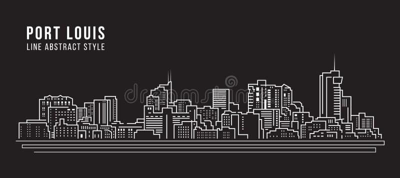 Allineamento dei fabbricati di paesaggio urbano progettazione dell'illustrazione di vettore di arte - città di Port Louis illustrazione di stock