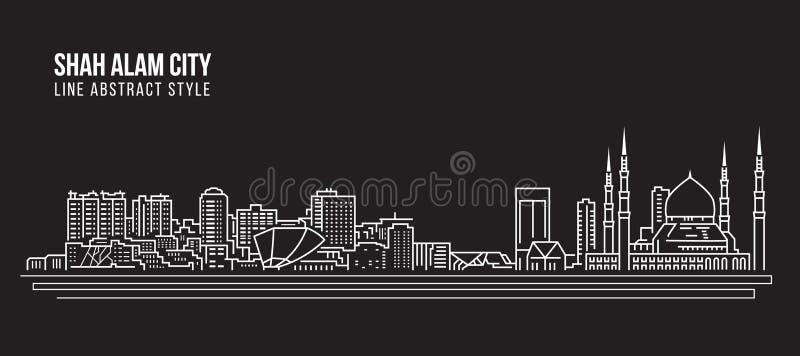 Allineamento dei fabbricati di paesaggio urbano progettazione dell'illustrazione di vettore di arte - città di Shah Alam illustrazione vettoriale