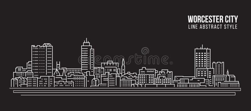 Allineamento dei fabbricati di paesaggio urbano progettazione dell'illustrazione di vettore di arte - città di Worcester illustrazione di stock