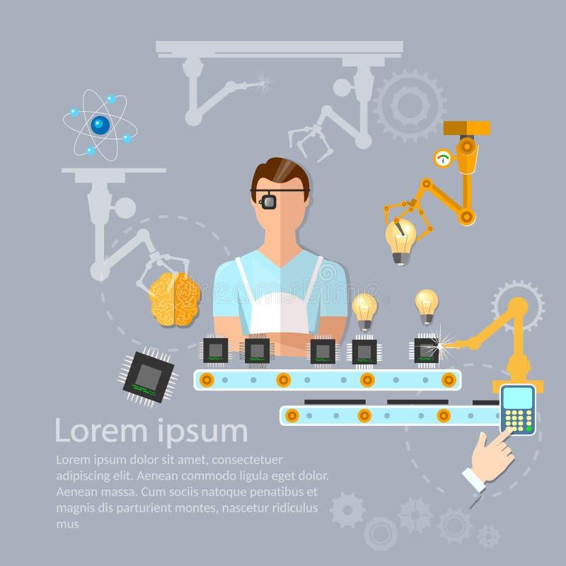 Allini del montaggio della linea del trasportatore dei computer e del braccio robot illustrazione di stock