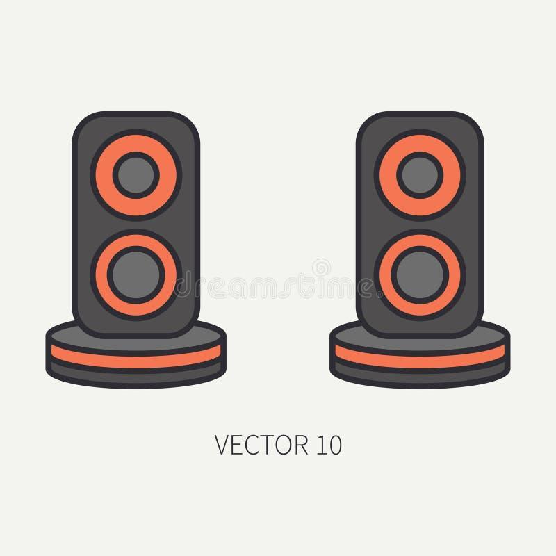 Allini gli altoparlanti piani dell'audio dell'icona della parte del computer di vettore di colore fumetto Dispositivo del desktop royalty illustrazione gratis