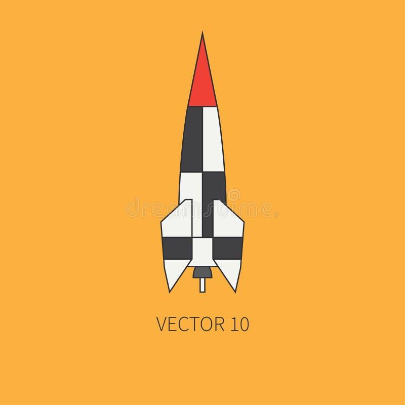 Allini gli elementi piani del programma aerospaziale - razzo a più stadi dell'icona di vettore di colore Stile del fumetto astron royalty illustrazione gratis