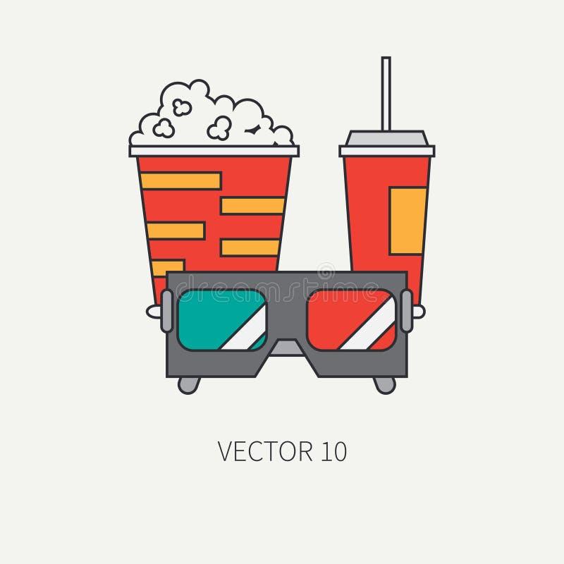 Allini gli elementi piani dell'icona di vettore di colore della cultura pop del cinema - il popcorn, cola Stile del fumetto cinem illustrazione vettoriale