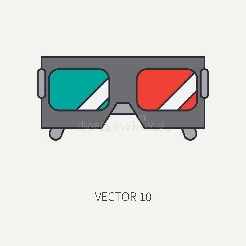 Allini gli elementi piani dell'icona di vettore di colore di cineasta e del cinema - i vetri 3D Stile del fumetto cinematografo V illustrazione vettoriale