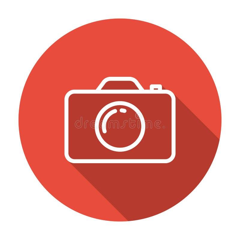 Allini, icona piana della macchina fotografica su fondo bianco illustrazione vettoriale
