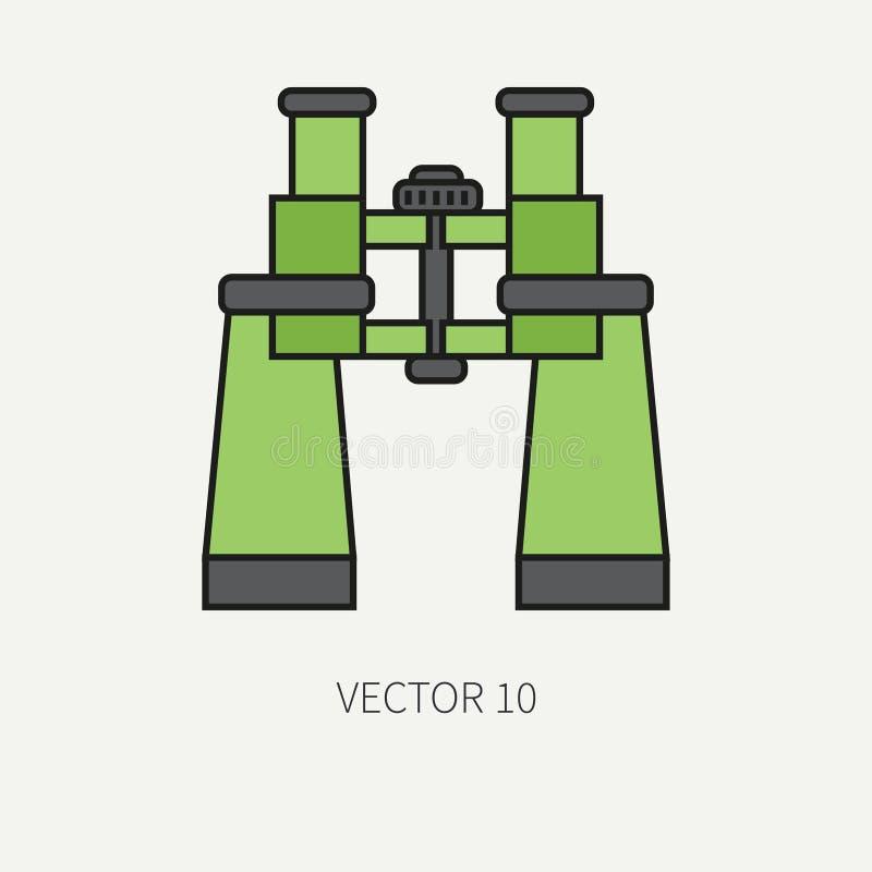 Allini il binocolo militare dell'esercito dell'icona di vettore piano di colore Attrezzature ed armi dell'esercito Stile del fume illustrazione di stock