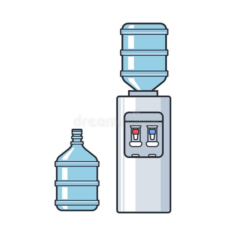 Allini il dispositivo di raffreddamento di acqua di plastica di vettore con la bottiglia piena blu Illustrazione piana su fondo b illustrazione di stock