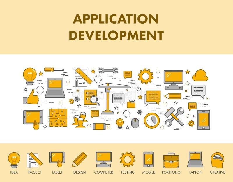 Allini l'insegna e le icone di web di concetto per sviluppo di applicazioni illustrazione vettoriale