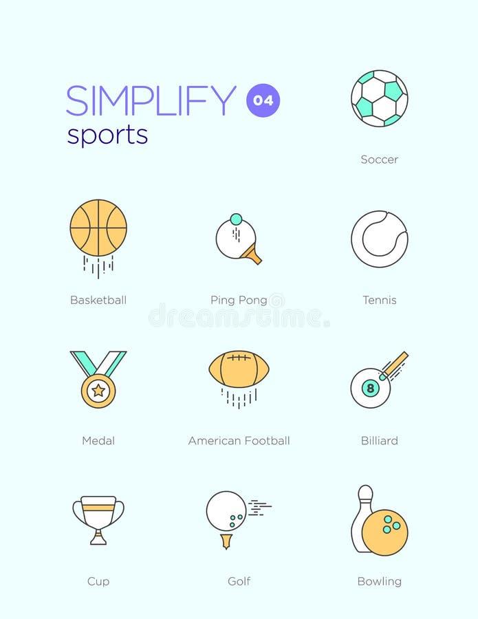 Allini le icone con gli elementi piani di progettazione degli sport royalty illustrazione gratis