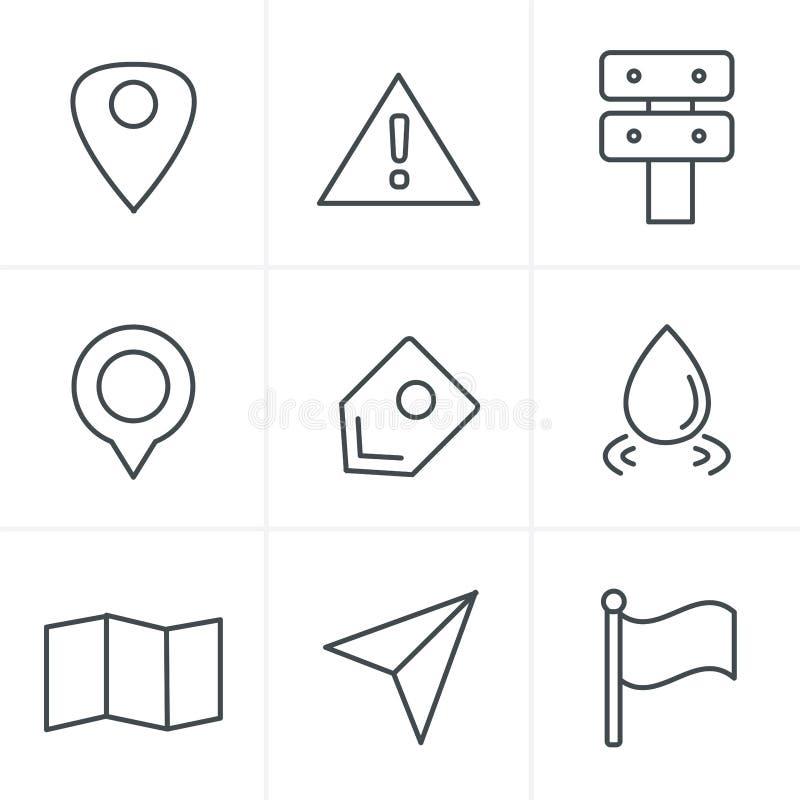Allini le icone della mappa di stile delle icone su fondo bianco illustrazione di stock